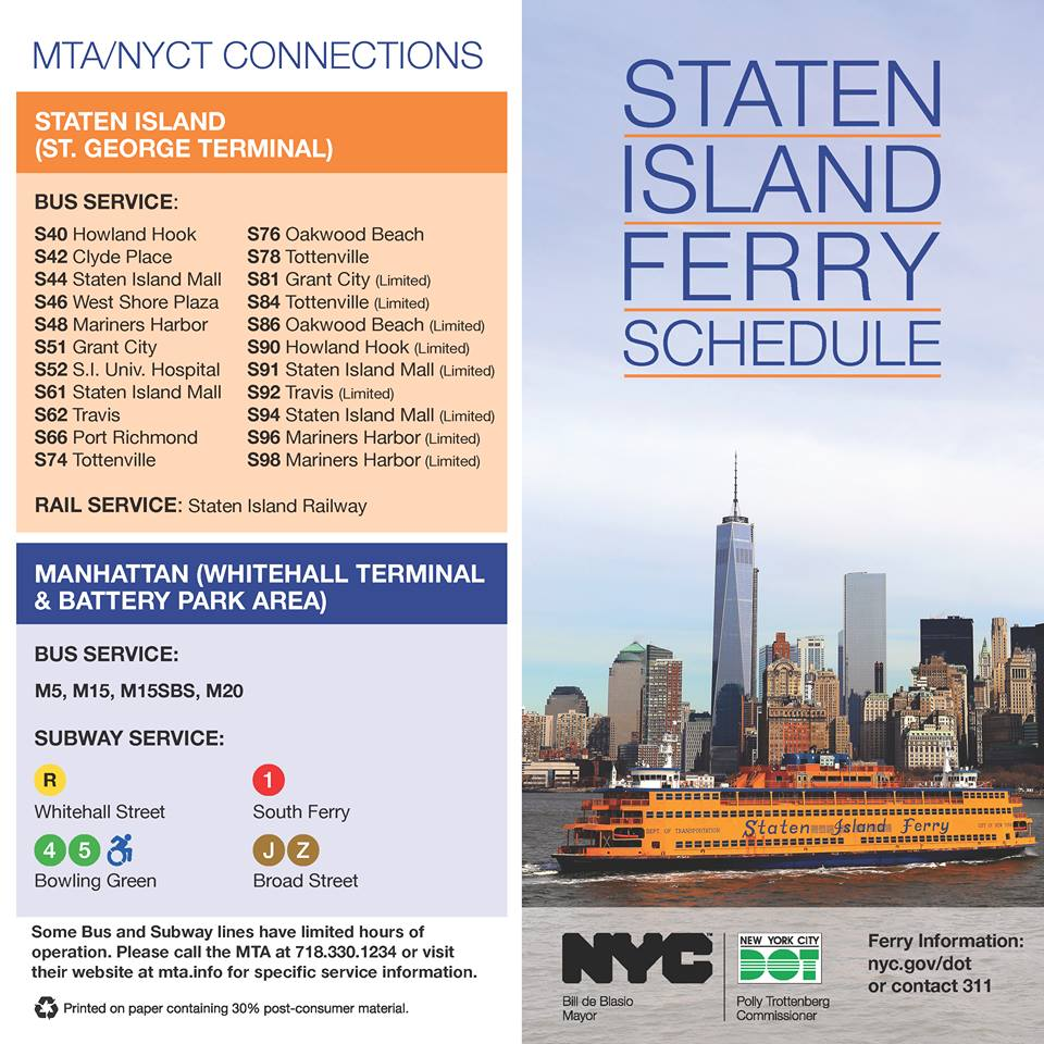 New York Staten Island Ferry Schedule